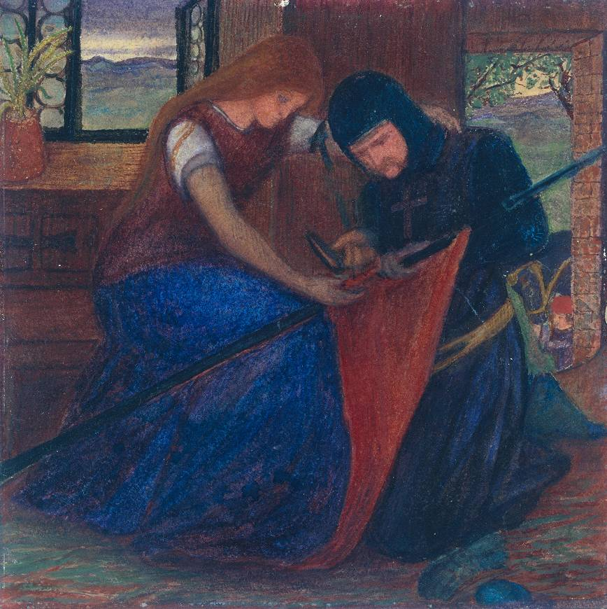 Elizabeth Siddal, Lady Affixing a Pennant to a Knight's Spear, 1856